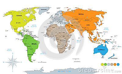 Political world map on white background with every state labeled political world map on white background with every state labeled colored by continents gumiabroncs Gallery