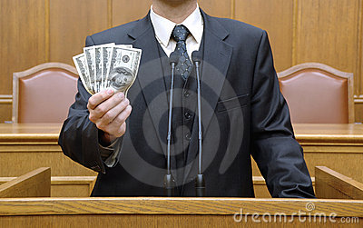 Politician holding money