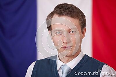 Politician over france flag