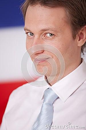 Politician over netherlands flag