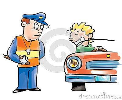 Polizeibeamte und Treiber