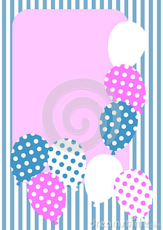 Polka dot balloons invitation card