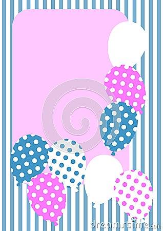 Polka dot balloons invitation card