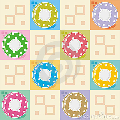 Polka-dot dishes seamless pattern