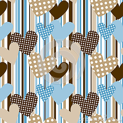 Polka dot hearts in stripes seamless background royalty for Striped and polka dot pumpkins