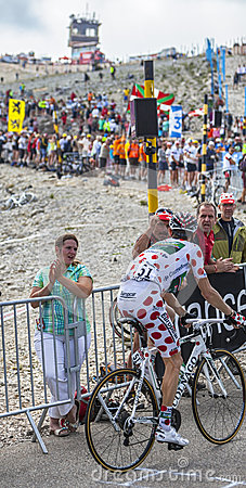 Polka Dot Jersey on Mont Ventoux Editorial Stock Image