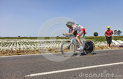 The Polka Dot Jersey- Pierre Rolland Editorial Stock Image