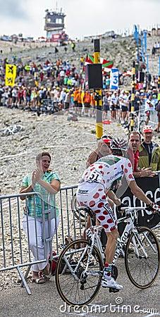 Polka Dot Jersey sur Mont Ventoux Image stock éditorial