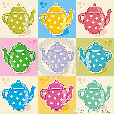 Polka-dot teapots