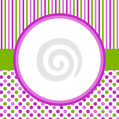 Polka dots and stripes circular border frame Stock Photo