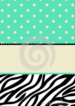 Polka dots and zebra pattern invitation card