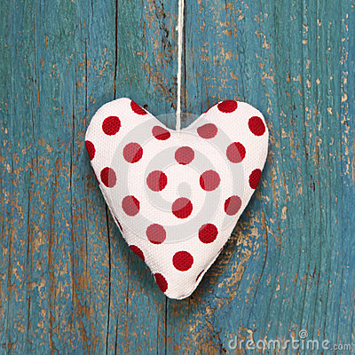 Free Polka Dotted Heart On Turquoise Wooden Surface In Country Style. Stock Image - 35002681