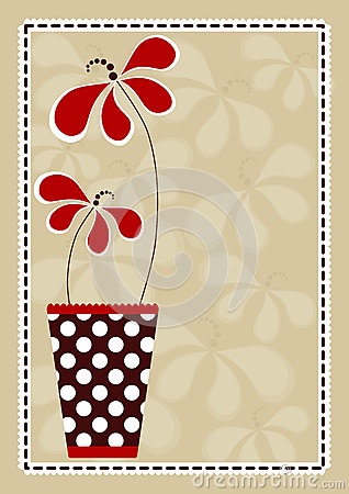 Polka Vase With Flowers Invitation Card