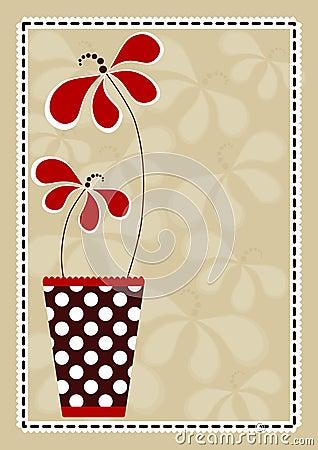 Polka Vase With Flowers Invitation Card