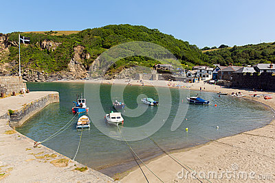Polkerris harbour Cornwall England near St Austell Editorial Photography
