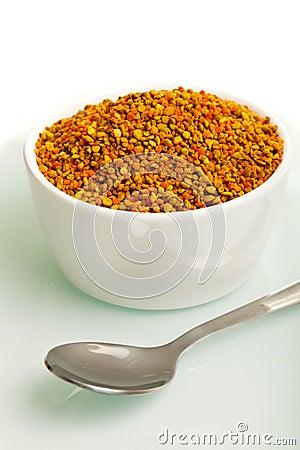 Pollen granules in a bowl