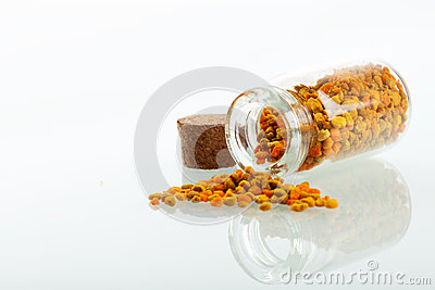 Pollen granules in small medicine bottle