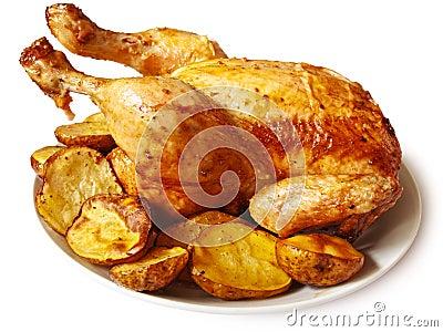 Pollo cocido al horno