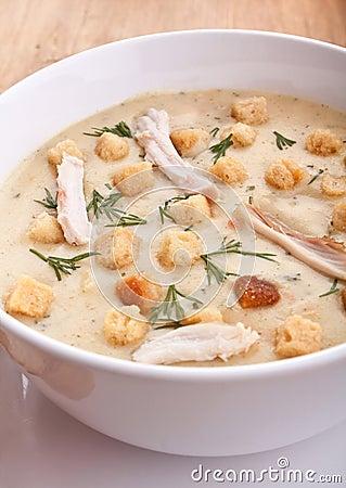 _pollo poner crema sopa con galleta
