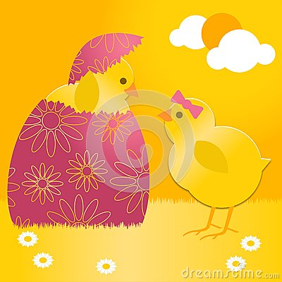 Polluelo de Pascua en el huevo de Pascua