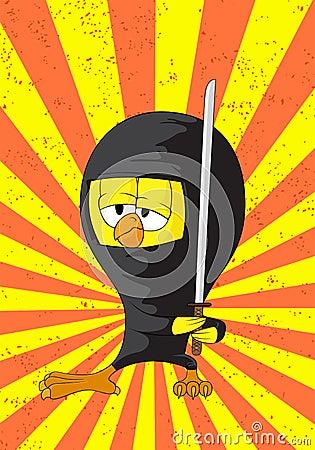 Polluelo del ninja de la historieta
