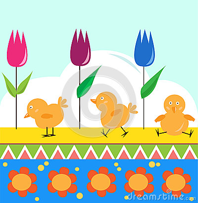 Polluelos y tulipanes