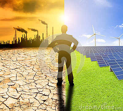 Free Pollution And Clean Energy Concept. Businessman Watching Windmil Stock Images - 40285684