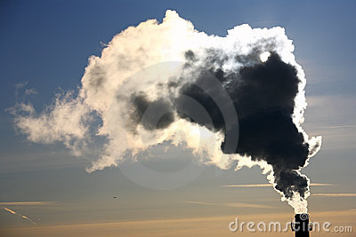 Pollution. Chimney and smoke.