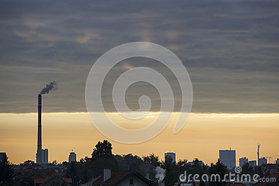 Pollution in a city, toxic sky
