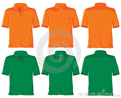 Polo shirt set. Orange & green
