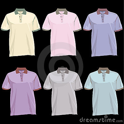 Polo t Shirt template with collar front and back