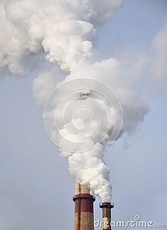 Poluição, fumo da chaminé