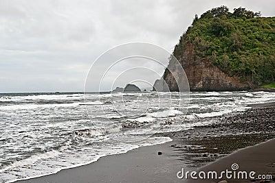 Polulu Valley beach on Big Island in Hawaii