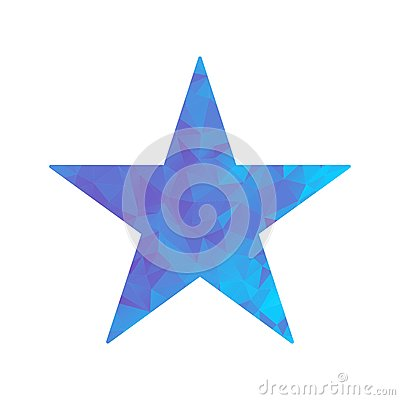 Polygon blue icon star Vector Illustration