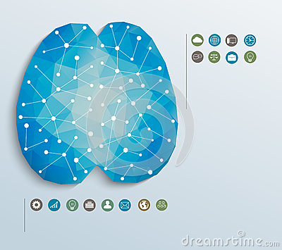 Polygon brain with icons, infographics