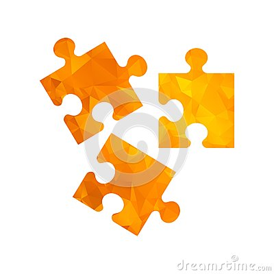 Polygon golden icon puzzle Vector Illustration