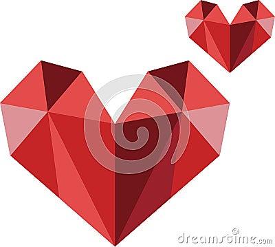 Polygon heart modern logo vector image Stock Photo