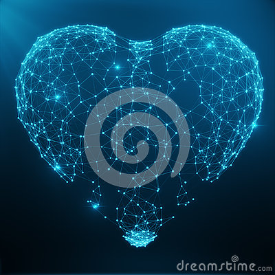Polygonal Abstract Heart Concept Consisting of Blue Dots and Lines. Digital Illustration. Polygonal Structure, Triangle Stock Photo