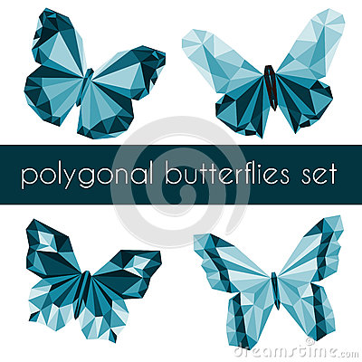 Polygonal butterflies Vector Illustration