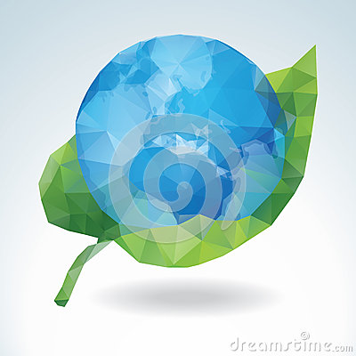 Polygonal Earth with green leaf