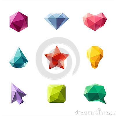 Polygonal geometric figures. Set of design elements
