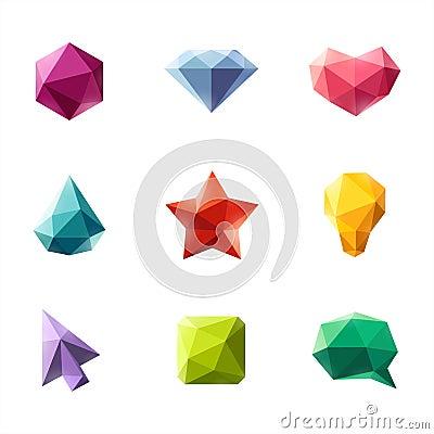 Free Polygonal Geometric Figures. Set Of Design Elements Royalty Free Stock Photography - 31631657