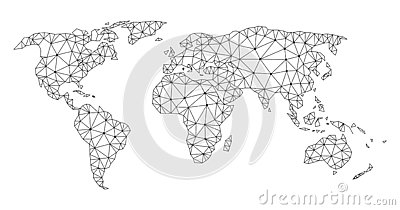 Polygonal Carcass Mesh Vector Map of World Vector Illustration