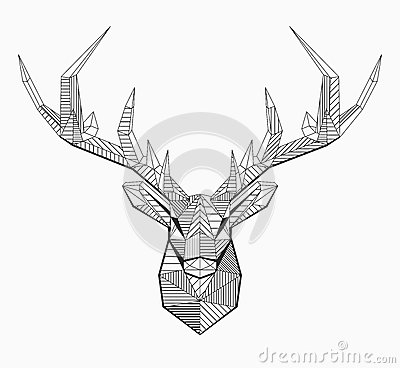 Free Polygonal Vector Line Deer Stock Photos - 75375733