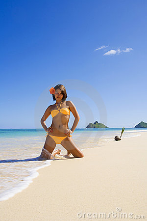 Polynesian Girl In  Bikini In Hawaii Royalty Free Stock Photos - Image: 7825648