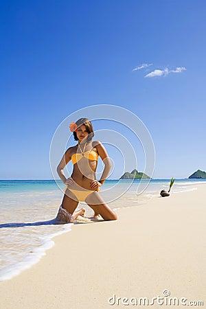 Polynesian girl in  bikini in Hawaii