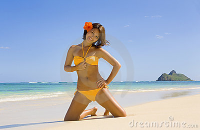 Polynesian girl in  bikini in Hawaii