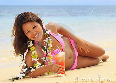 Polynesian girl with flower lei
