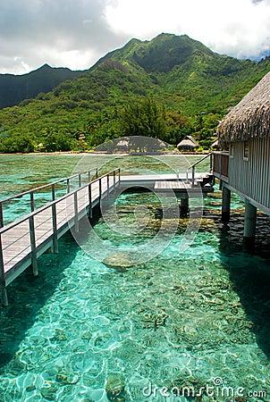 Polynesian overwater bungalow. Moorea, French Polynesia