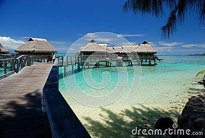 Polynesian overwater bungalows. Moorea, French Polynesia